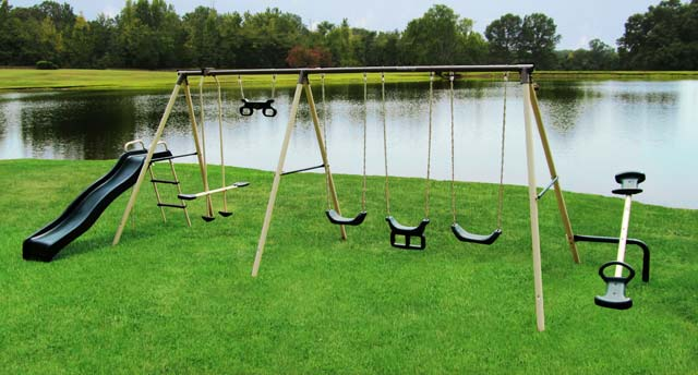 metal flexible ground aottop the dp amazon children set adjustable to anchor swings for secures sets outdoor swing frame flyer kit any com