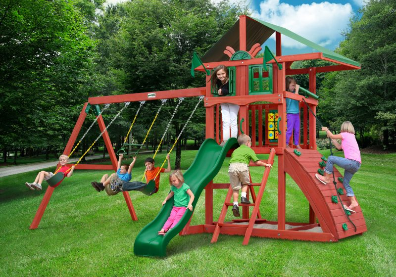 The Cantilevered Vinyl Canopy Roof And Redwood Finish Give This Playset A  Unique Look That Will Work In Any Backyard.