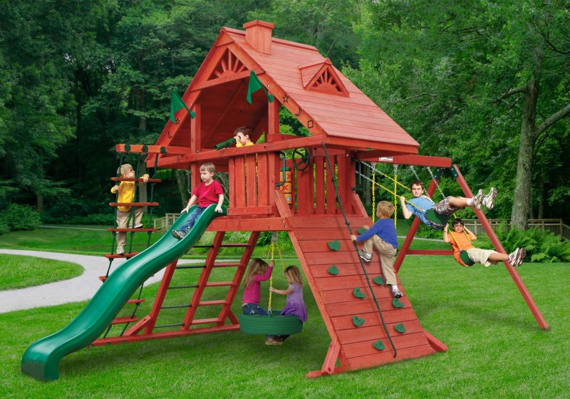The Play Platform Is Supported By Two Climbing Apparatuses Including An  Extra Wide Climbing Rock Wall And The Cool Wood And Metal Ladder  Combination.
