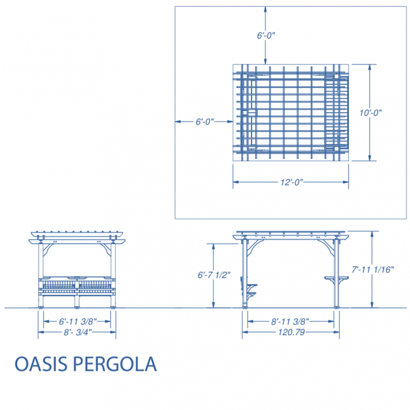 The Oasis Pergola Comes With A Built In Bench And Bar Which Are Situated On Shorter 7 Foot Wide Ends Of Structure